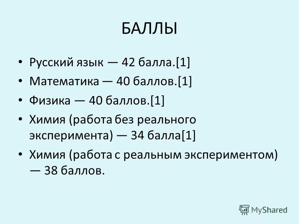 БАЛЛЫ Русский язык 42 балла.[1] Математика 40 баллов.[1] Физика 40 баллов.[1] Химия (работа без реального эксперимента) 34 балла[1] Химия (работа с реальным экспериментом) 38 баллов.