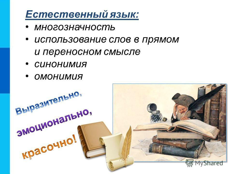 Естественный язык: многозначность использование слов в прямом и переносном смысле синонимия омонимия