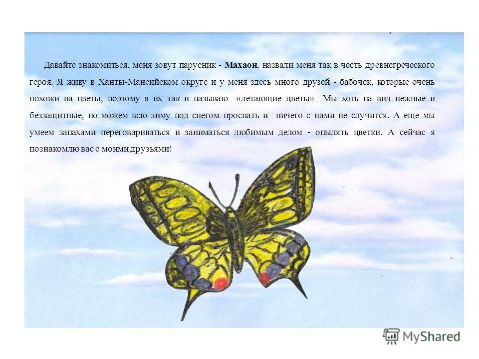 Давайте знакомиться, меня зовут парусник - Махаон, назвали меня так в честь древнегреческого героя. Я живу в Ханты-Мансийском округе и у меня здесь много друзей - бабочек, которые очень похожи на цветы, поэтому я их так и называю «летающие цветы» Мы