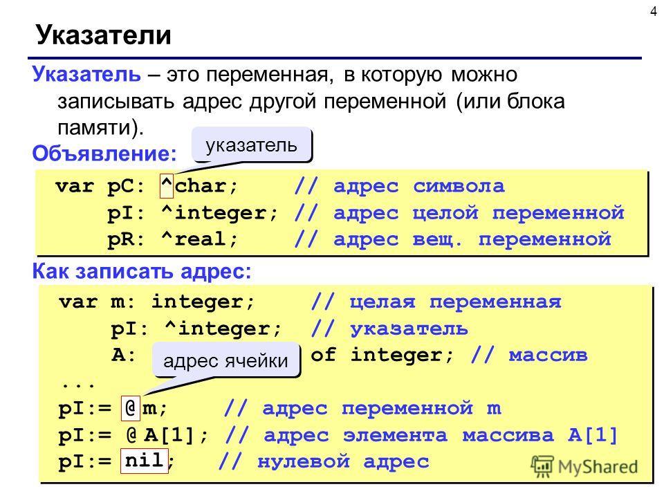 4 Указатели Указатель – это переменная, в которую можно записывать адрес другой переменной (или блока памяти). Объявление: Как записать адрес: var pC: ^char; // адрес символа pI: ^integer; // адрес целой переменной pR: ^real; // адрес вещ. переменной