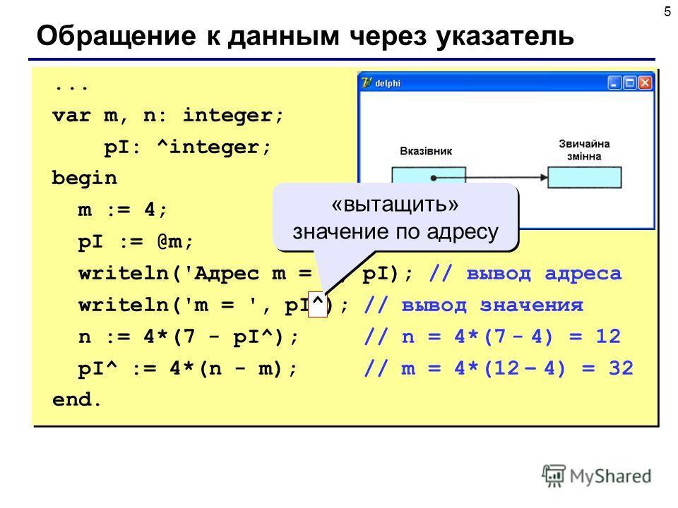 5 Обращение к данным через указатель... var m, n: integer; pI: ^integer; begin m := 4; pI := @m; writeln('Адрес m = ', pI); // вывод адреса writeln('m = ', pI^); // вывод значения n := 4*(7 - pI^); // n = 4*(7 - 4) = 12 pI^ := 4*(n - m); // m = 4*(12