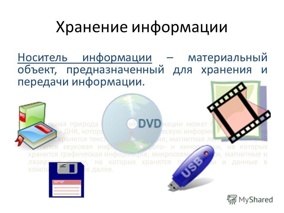 Хранение информации Носитель информации – материальный объект, предназначенный для хранения и передачи информации. Материальная природа носителей информации может быть различной: молекулы ДНК, которые хранят генетическую информацию; бумага, на которо