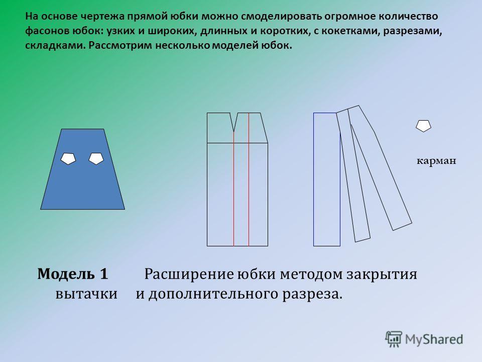 На основе чертежа прямой юбки можно смоделировать огромное количество фасонов юбок: узких и широких, длинных и коротких, с кокетками, разрезами, складками. Рассмотрим несколько моделей юбок. Модель 1 Расширение юбки методом закрытия вытачки и дополни