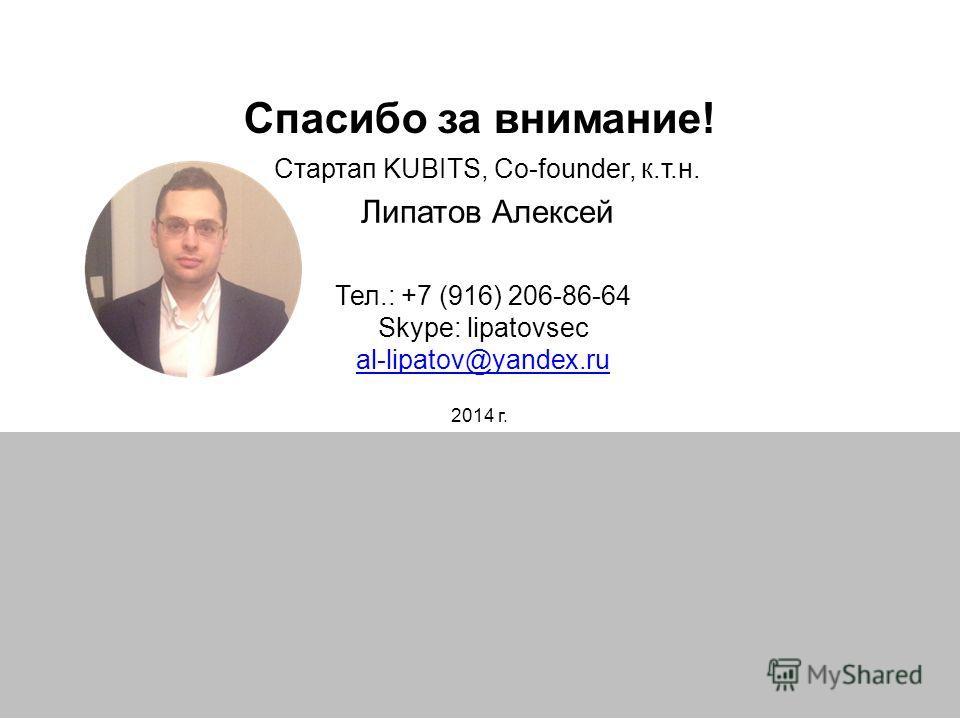 Спасибо за внимание! Тел.: +7 (916) 206-86-64 Skype: lipatovsec al-lipatov@yandex.ru al-lipatov@yandex.ru Стартап KUBITS, Co-founder, к.т.н. Липатов Алексей 2014 г.