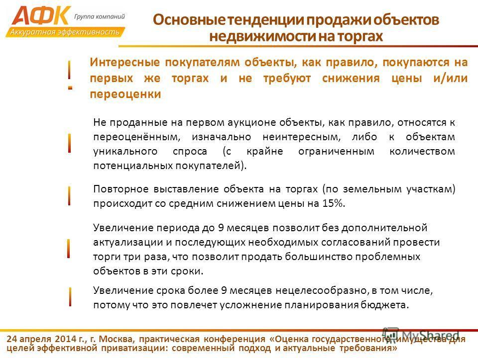 24 апреля 2014 г., г. Москва, практическая конференция «Оценка государственного имущества для целей эффективной приватизации: современный подход и актуальные требования» Не проданные на первом аукционе объекты, как правило, относятся к переоценённым,