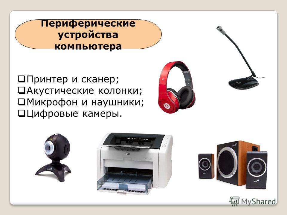 Периферические устройства компьютера Принтер и сканер; Акустические колонки; Микрофон и наушники; Цифровые камеры.