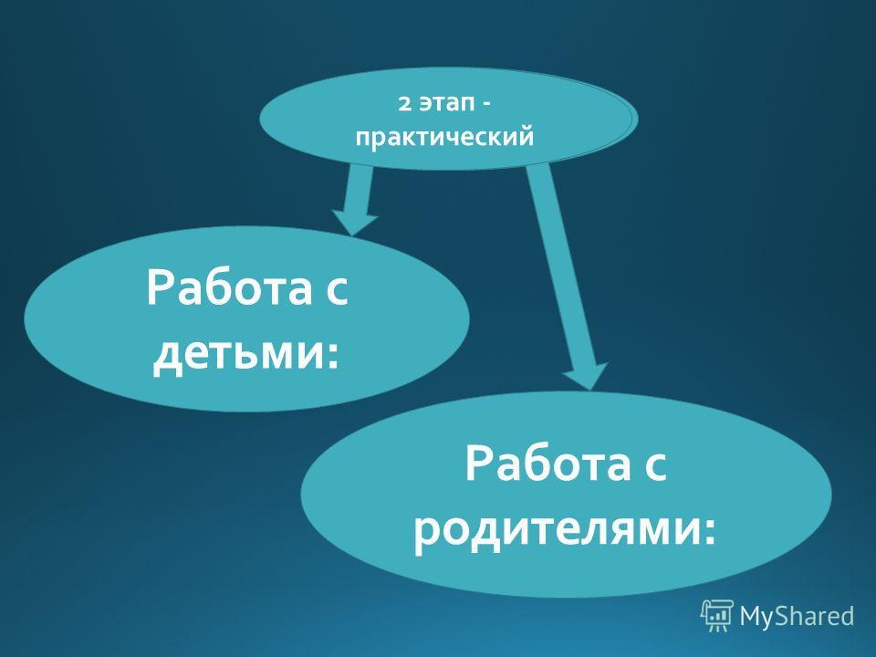 2 этап - практический Работа с детьми: Работа с родителями: 2 этап - практический