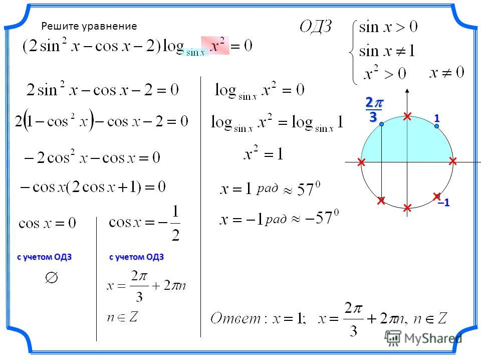 Решите уравнение 32 с учетом ОДЗ 1 –1 рад