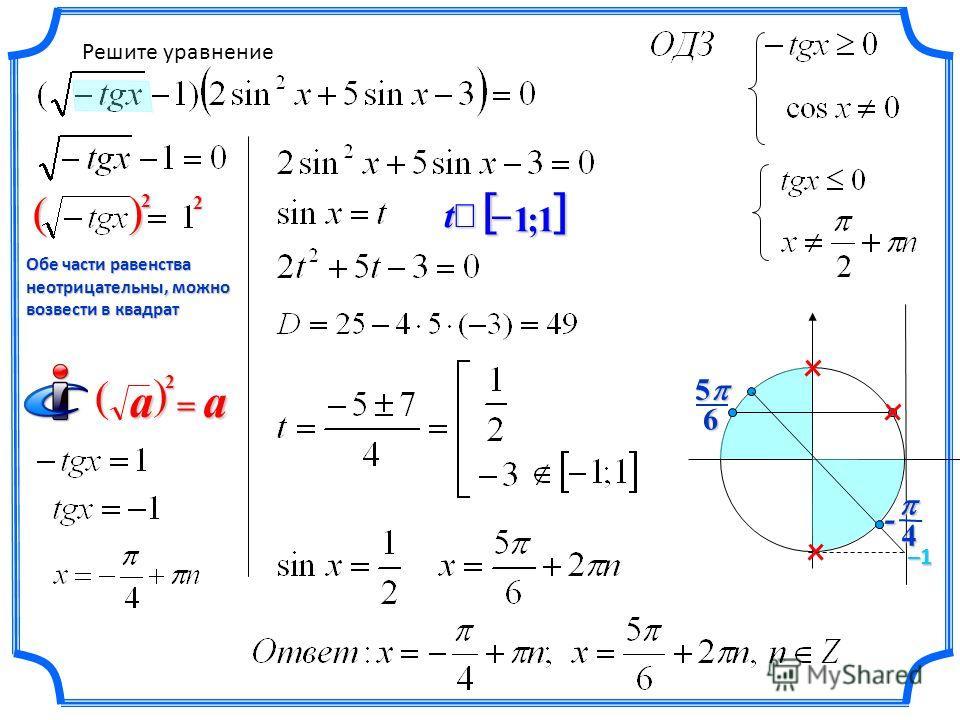 Решите уравнение–1 4- 1;1 t 65 Обе части равенства неотрицательны, можно возвести в квадрат 2 2 a a 2