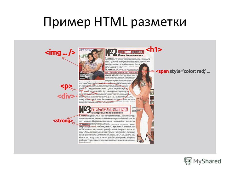 Пример HTML разметки