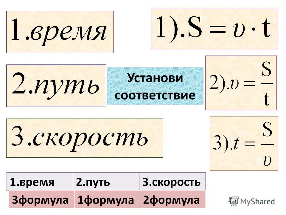 1.время2.путь3.скорость 3формула1формула2формула Установи соответствие