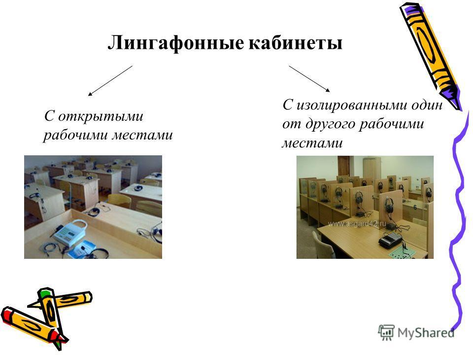 Лингафонные кабинеты С открытыми рабочими местами С изолированными один от другого рабочими местами