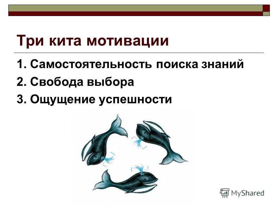 Три кита мотивации 1. Самостоятельность поиска знаний 2. Свобода выбора 3. Ощущение успешности