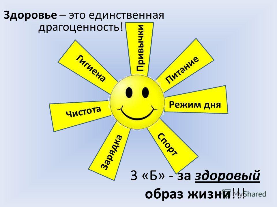 3 «Б» - за здоровый образ жизни!!! Здоровье – это единственная драгоценность! Привычки Питание Режим дня Спорт Зарядка Чистота Гигиена
