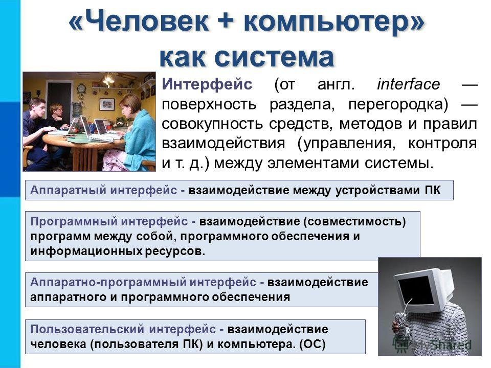 «Человек + компьютер» как система Интерфейс (от англ. interface поверхность раздела, перегородка) совокупность средств, методов и правил взаимодействия (управления, контроля и т. д.) между элементами системы. Аппаратный интерфейс - взаимодействие меж