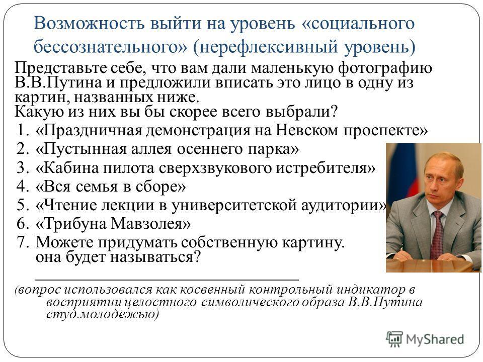 Возможность выйти на уровень «социального бессознательного» (нерефлексивный уровень) Представьте себе, что вам дали маленькую фотографию В.В.Путина и предложили вписать это лицо в одну из картин, названных ниже. Какую из них вы бы скорее всего выбрал