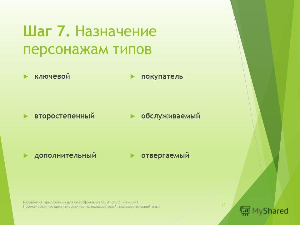 Шаг 7. Назначение персонажам типов ключевой второстепенный дополнительный покупатель обслуживаемый отвергаемый Разработка приложений для смартфонов на ОС Android. Лекция 1. Проектирование, ориентированное на пользователей. пользовательский опыт 64