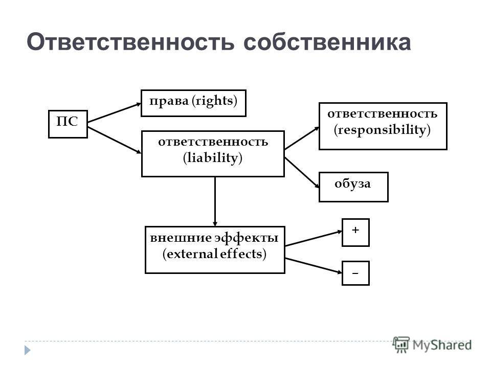 Ответственность собственника ПС права ( rights ) ответственность ( liability ) ответственность ( responsibility ) обуза внешние эффекты ( external effects ) + –