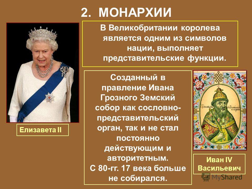 2. МОНАРХИИ В Великобритании королева является одним из символов нации, выполняет представительские функции. Елизавета II Созданный в правление Ивана Грозного Земский собор как сословно- представительский орган, так и не стал постоянно действующим и