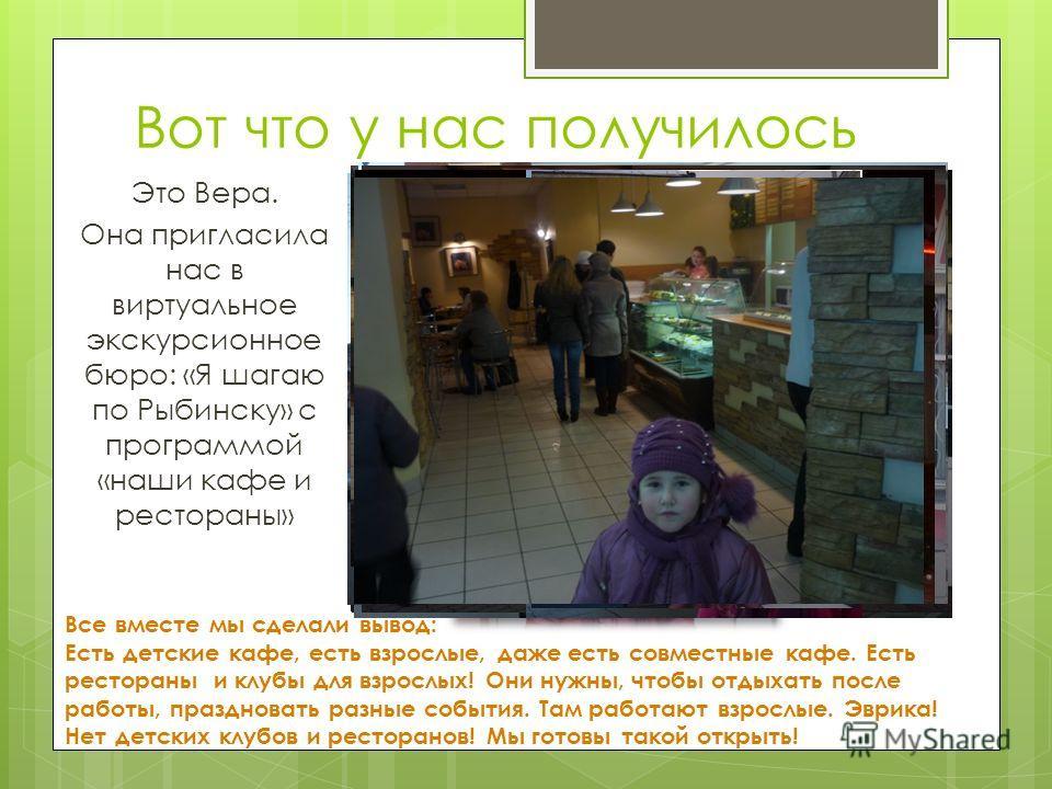 Вот что у нас получилось Это Вера. Она пригласила нас в виртуальное экскурсионное бюро: «Я шагаю по Рыбинску» с программой «наши кафе и рестораны» Все вместе мы сделали вывод: Есть детские кафе, есть взрослые, даже есть совместные кафе. Есть ресторан