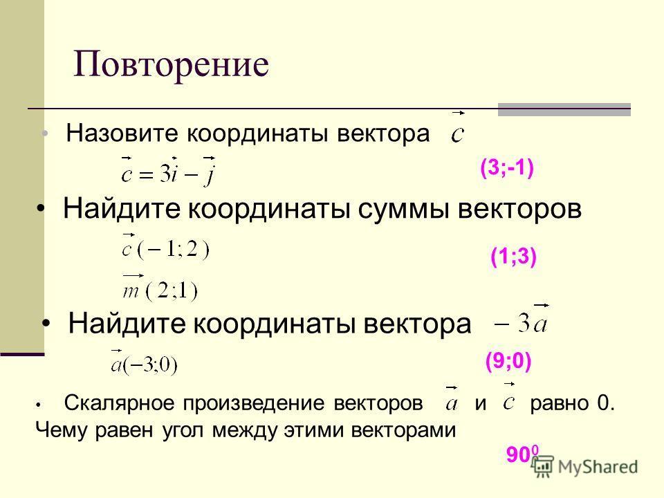 Повторение Назовите координаты вектора (3;-1) Найдите координаты суммы векторов (1;3) Найдите координаты вектора (9;0) Скалярное произведение векторов и равно 0. Чему равен угол между этими векторами 90 0