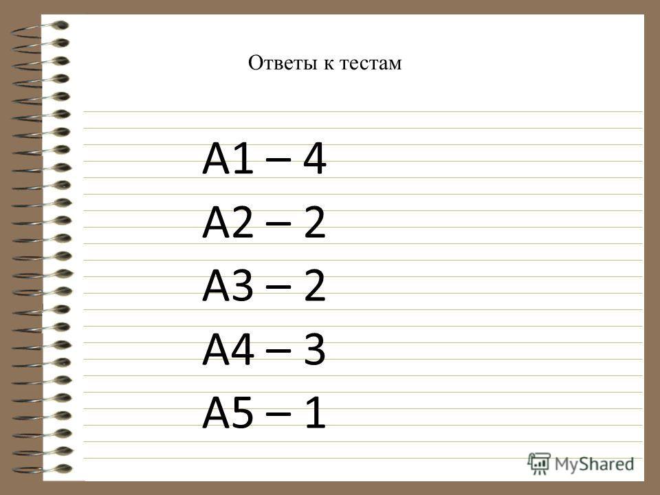 А1 – 4 А2 – 2 А3 – 2 А4 – 3 А5 – 1 Ответы к тестам