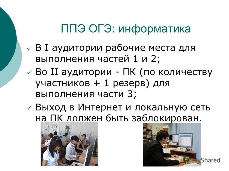 ППЭ ОГЭ: информатика В I аудитории рабочие места для выполнения частей 1 и 2; Во II аудитории - ПК (по количеству участников + 1 резерв) для выполнения части 3; Выход в Интернет и локальную сеть на ПК должен быть заблокирован.