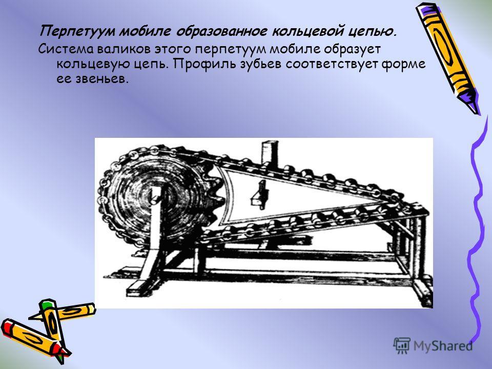 Перпетуум мобиле образованное кольцевой цепью. Система валиков этого перпетуум мобиле образует кольцевую цепь. Профиль зубьев соответствует форме ее звеньев.