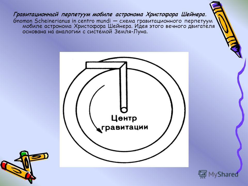 Гравитационный перпетуум мобиле астронома Христофора Шейнера. Gnomon Scheinerianus in centro mundi схема гравитационного перпетуум мобиле астронома Христофора Шейнера. Идея этого вечного двигателя основана на аналогии с системой Земля-Луна.