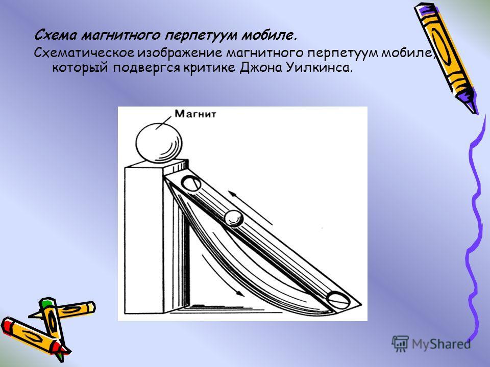 Схема магнитного перпетуум мобиле. Схематическое изображение магнитного перпетуум мобиле, который подвергся критике Джона Уилкинса.