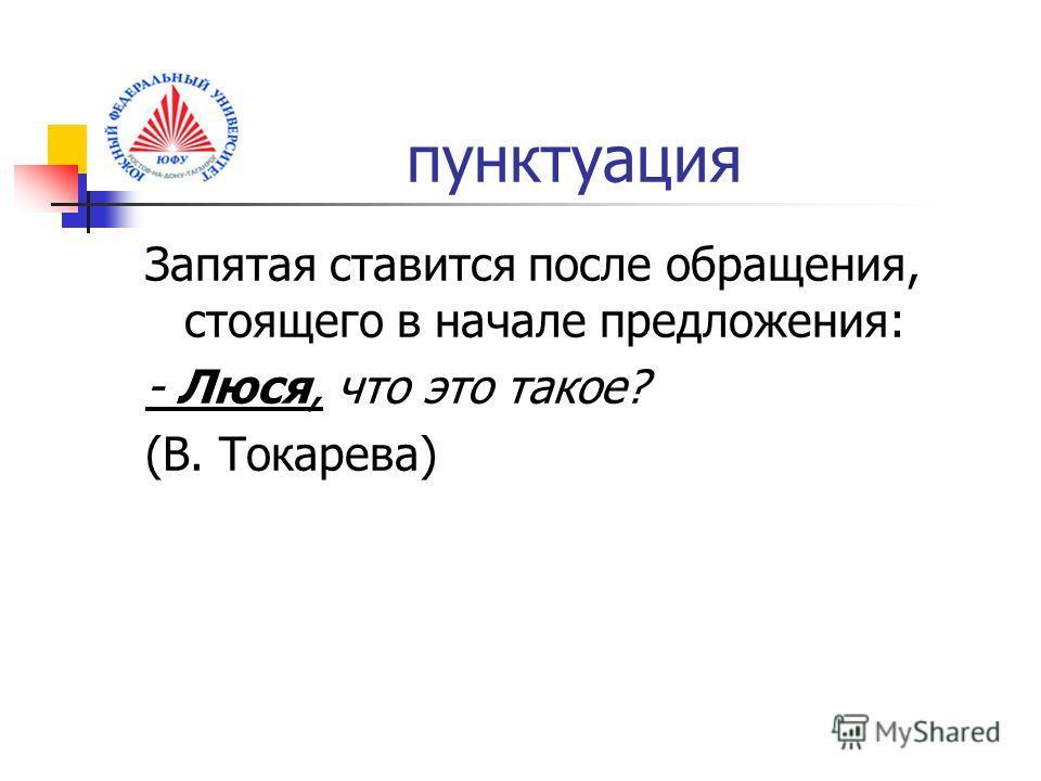пунктуация Запятая ставится после обращения, стоящего в начале предложения: - Люся, что это такое? (В. Токарева)