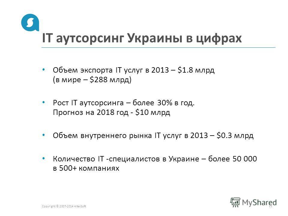 IT аутсорсинг Украины в цифрах Copyright © 2007-2014 AltexSoft 11 Объем экспорта IT услуг в 2013 – $1.8 млрд (в мире – $288 млрд) Рост IT аутсорсинга – более 30% в год. Прогноз на 2018 год - $10 млрд Объем внутреннего рынка IT услуг в 2013 – $0.3 млр