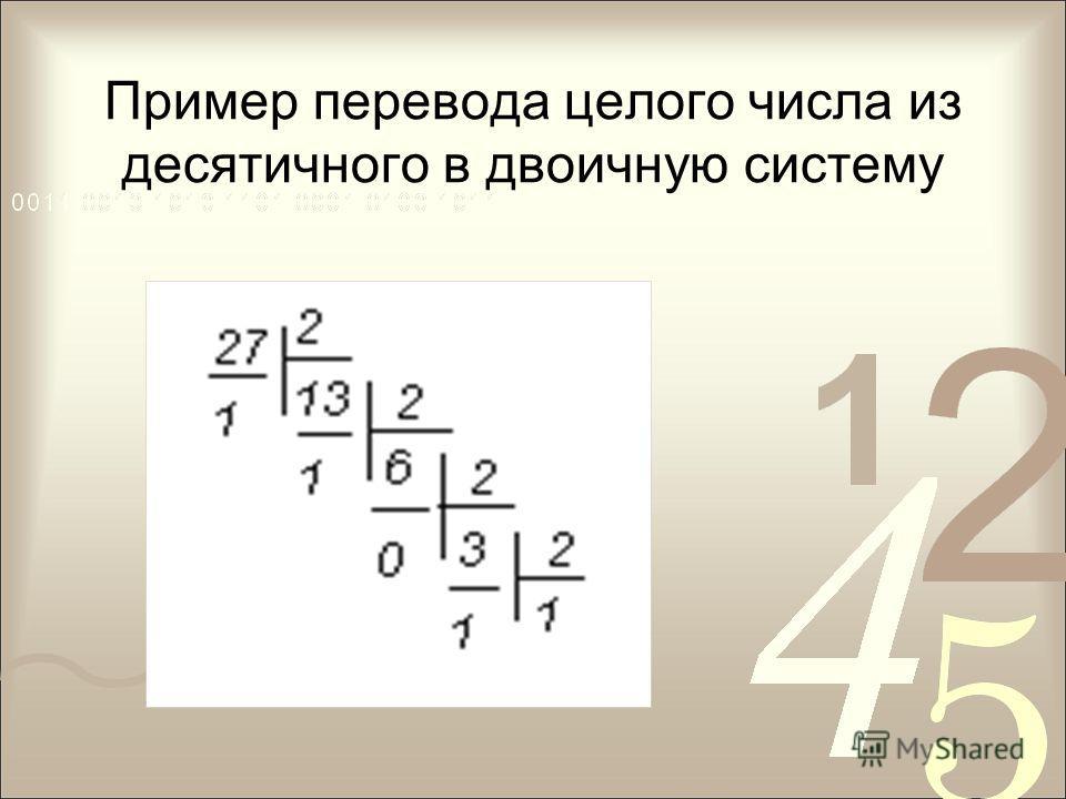 Пример перевода целого числа из десятичного в двоичную систему