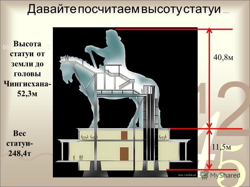 Давайте посчитаем высоту статуи … 40,8м 11,5м Высота статуи от земли до головы Чингисхана- 52,3м Вес статуи- 248,4т