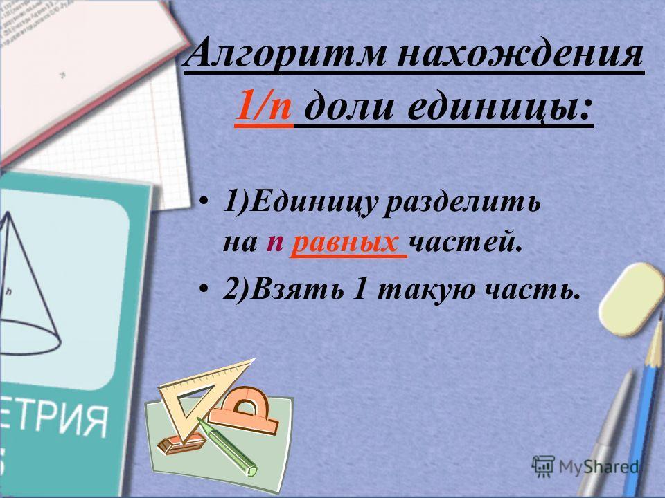 Алгоритм нахождения 1/п доли единицы: 1)Единицу разделить на п равных частей. 2)Взять 1 такую часть.
