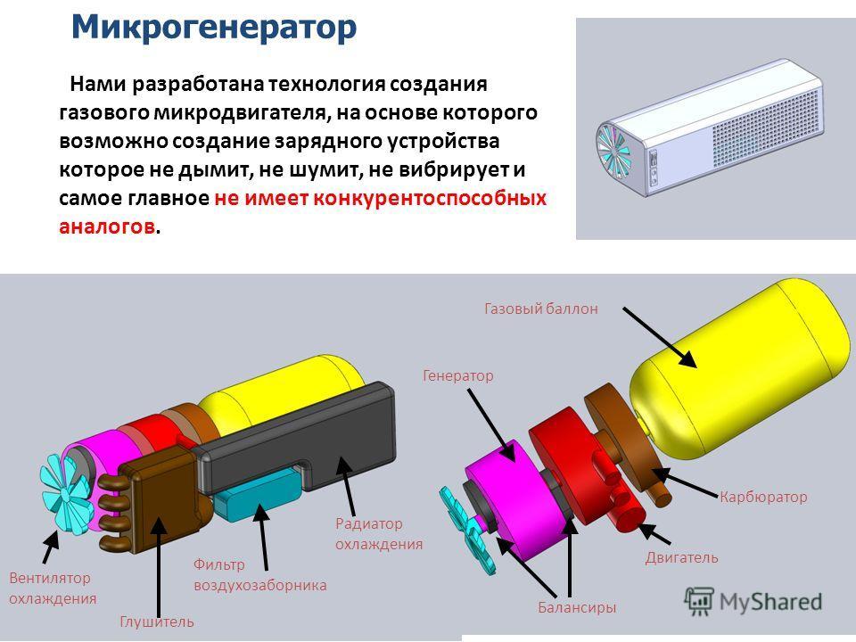 Нами разработана технология создания газового микродвигателя, на основе которого возможно создание зарядного устройства которое не дымит, не шумит, не вибрирует и самое главное не имеет конкурентоспособных аналогов. Вентилятор охлаждения Глушитель Фи