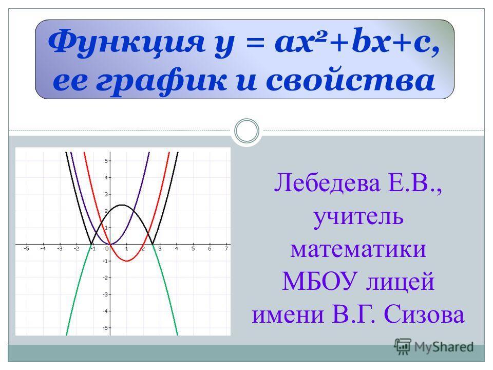 Функция у = ах 2 +bx+c, ее график и свойства Лебедева Е.В., учитель математики МБОУ лицей имени В.Г. Сизова