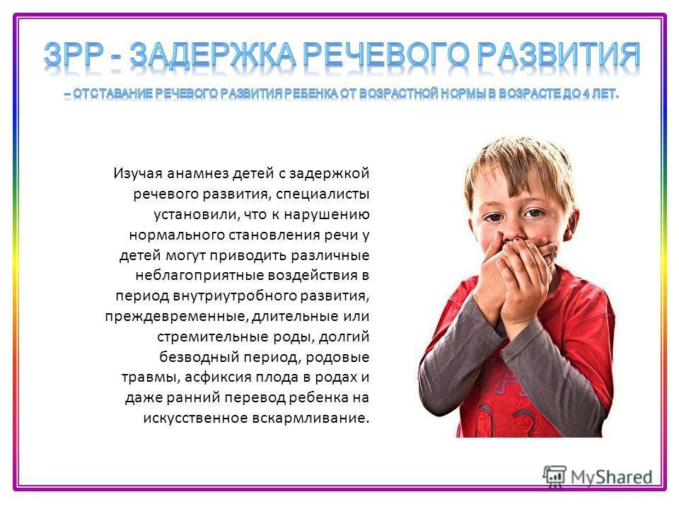 Изучая анамнез детей с задержкой речевого развития, специалисты установили, что к нарушению нормального становления речи у детей могут приводить различные неблагоприятные воздействия в период внутриутробного развития, преждевременные, длительные или