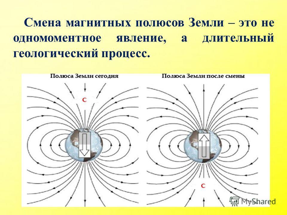 Смена магнитных полюсов Земли – это не одномоментное явление, а длительный геологический процесс.