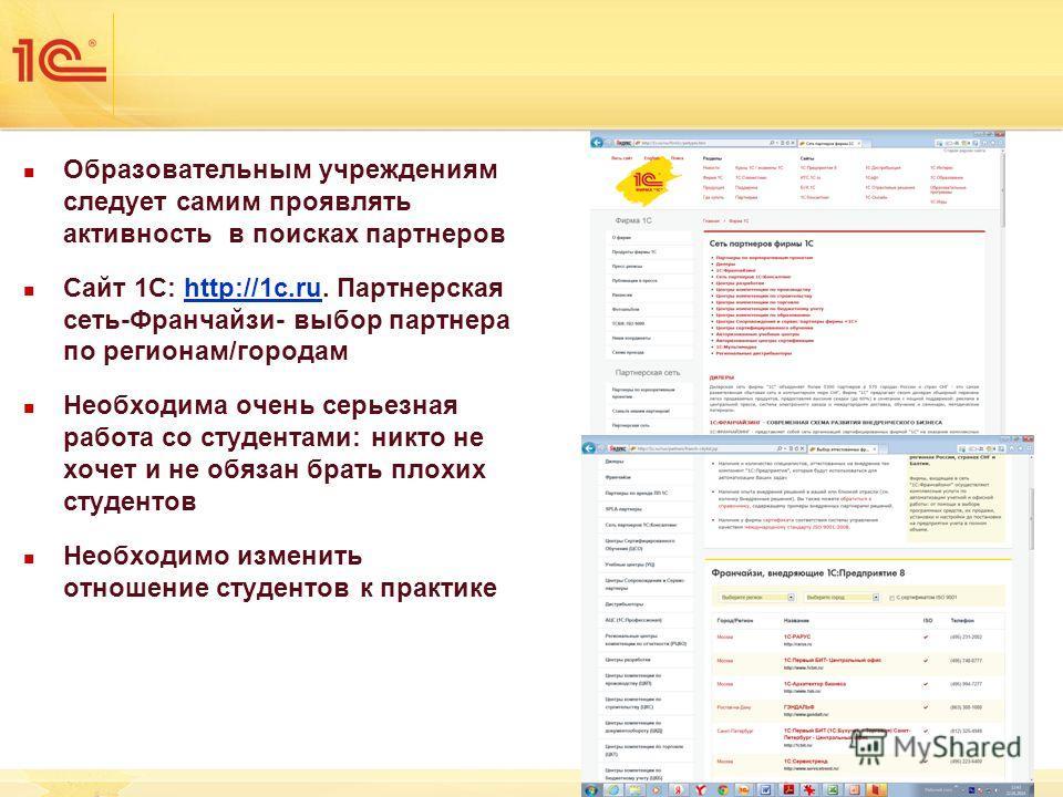 Образовательным учреждениям следует самим проявлять активность в поисках партнеров Сайт 1С: http://1c.ru. Партнерская сеть-Франчайзи- выбор партнера по регионам/городамhttp://1c.ru Необходима очень серьезная работа со студентами: никто не хочет и не