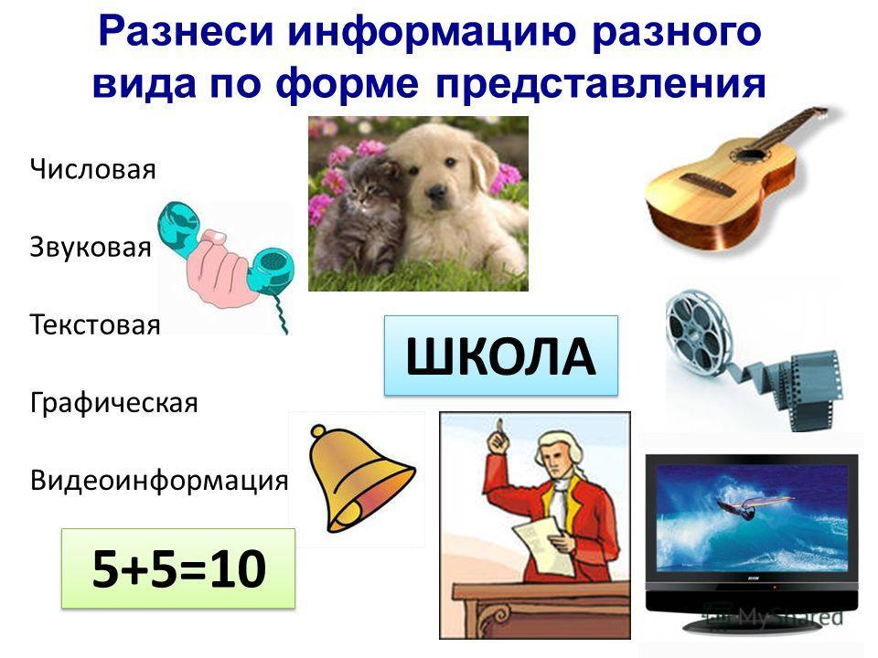 Разнеси информацию разного вида по форме представления Числовая Звуковая Текстовая Графическая Видеоинформация 5+5=10 ШКОЛА