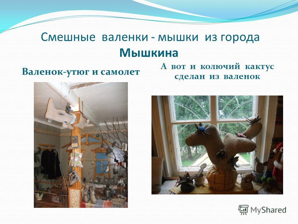 Смешные валенки - мышки из города Мышкина Валенок-утюг и самолет А вот и колючий кактус сделан из валенок