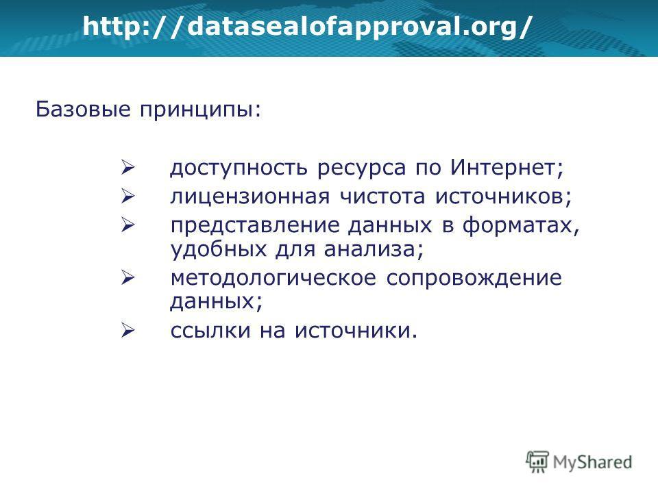 http://datasealofapproval.org/ Базовые принципы: доступность ресурса по Интернет; лицензионная чистота источников; представление данных в форматах, удобных для анализа; методологическое сопровождение данных; ссылки на источники.