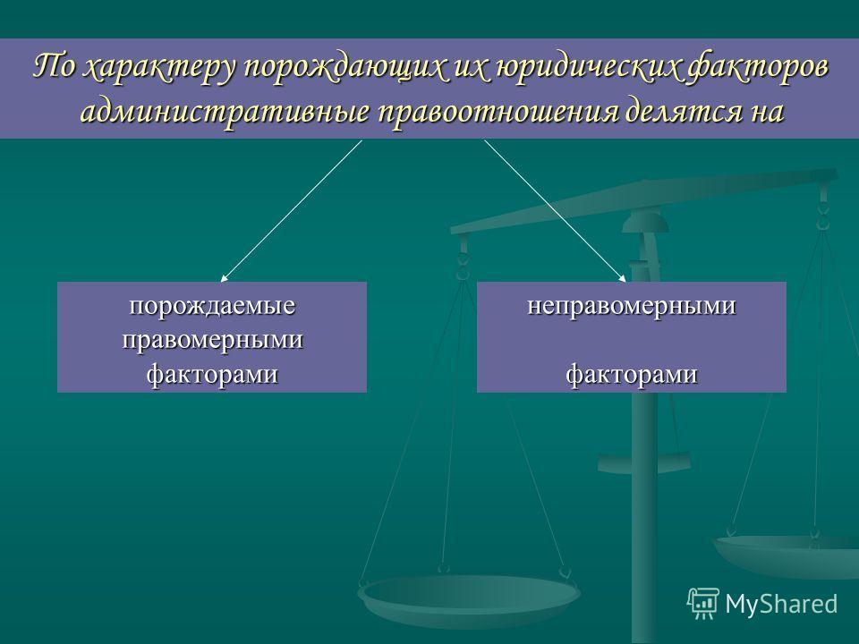 По характеру порождающих их юридических факторов административные правоотношения делятся на порождаемые правомерными факторами неправомернымифакторами