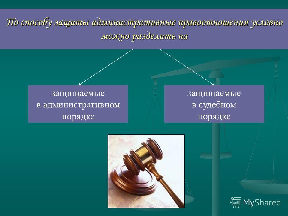 По способу защиты административные правоотношения условно можно разделить на защищаемые в административном порядке защищаемые в судебном порядке