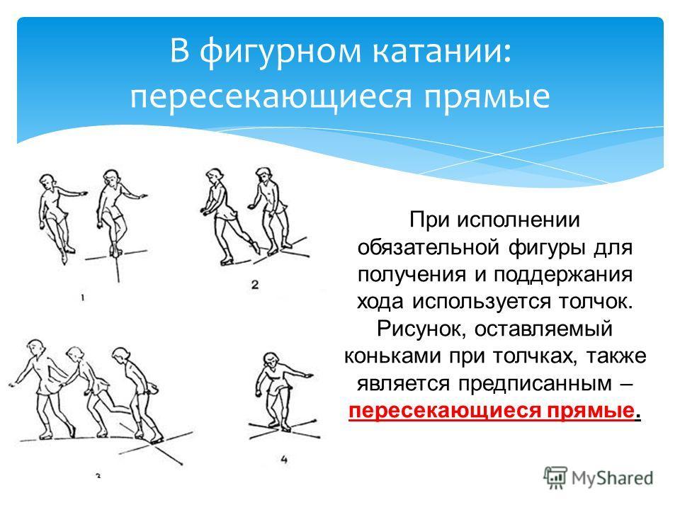 При исполнении обязательной фигуры для получения и поддержания хода используется толчок. Рисунок, оставляемый коньками при толчках, также является предписанным – пересекающиеся прямые. В фигурном катании: пересекающиеся прямые