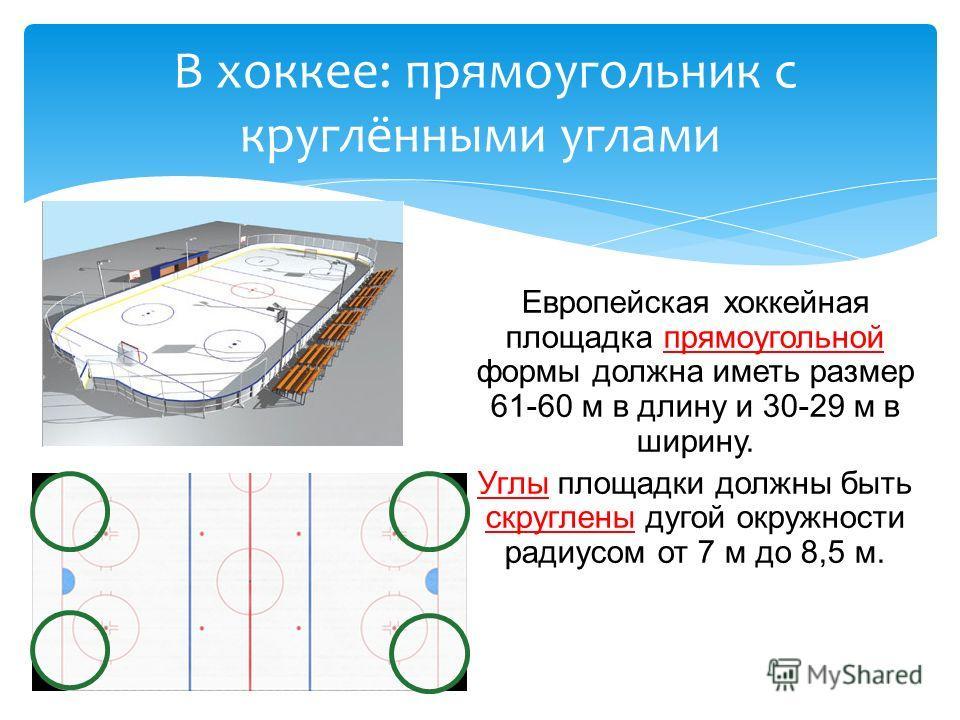Европейская хоккейная площадка прямоугольной формы должна иметь размер 61-60 м в длину и 30-29 м в ширину. Углы площадки должны быть скруглены дугой окружности радиусом от 7 м до 8,5 м. В хоккее: прямоугольник с круглёнными углами