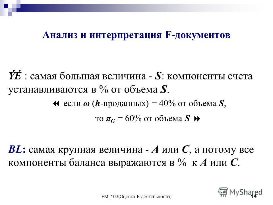 FM_103(Оценка F-деятельности)14 Анализ и интерпретация F-документов ÝÉ : самая большая величина - S: компоненты счета устанавливаются в % от объема S. если ω (h-проданных) = 40% от объема S, то π G = 60% от объема S BL: самая крупная величина - А или