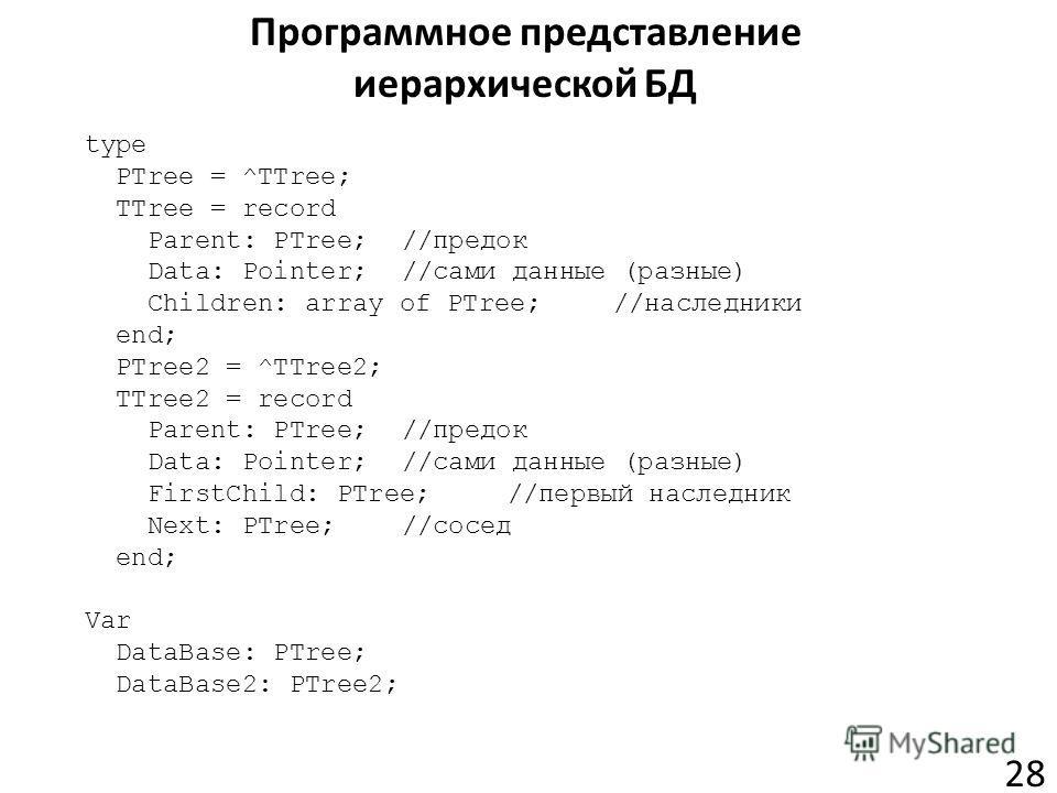 Программное представление иерархической БД 28 type PTree = ^TTree; TTree = record Parent: PTree;//предок Data: Pointer;//сами данные (разные) Children: array of PTree;//наследники end; PTree2 = ^TTree2; TTree2 = record Parent: PTree;//предок Data: Po