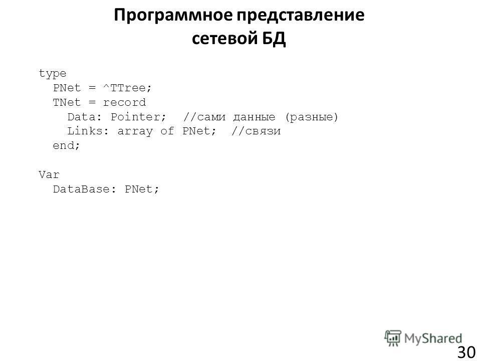 Программное представление сетевой БД 30 type PNet = ^TTree; TNet = record Data: Pointer;//сами данные (разные) Links: array of PNet;//связи end; Var DataBase: PNet;